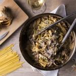 Fettuccine aux champignons crémeux, cidre, ciboulette et parmesan