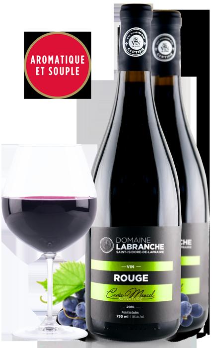 Bouteilles de vin rouge signature du Domaine Labranche et leur coupe